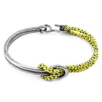 Anchor & Crew Yellow Noir Tay Silver and Rope Half Bangle