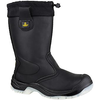 Amblers Safety Mens FS209 Pull On Leather Safety Rigger Boots Black