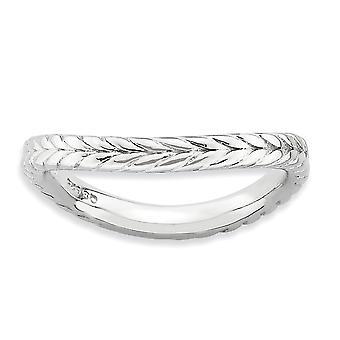 2,25mm 925 Sterling Sølv Stackable Uttrykk Polert Rhodium plate Wave Ring Smykker Gaver til kvinner - Ring Størrelse: 5
