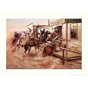 In Without Knocking Poster Print by Charles M Russell (28 x 20)