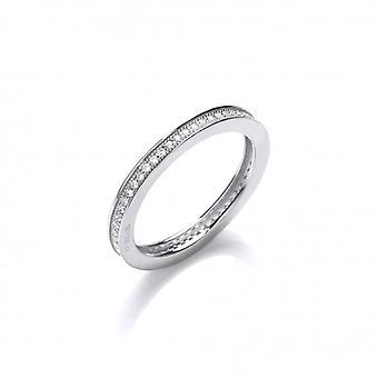 Cavendish francia Silver és CZ egysoros egymásra rakható gyűrű