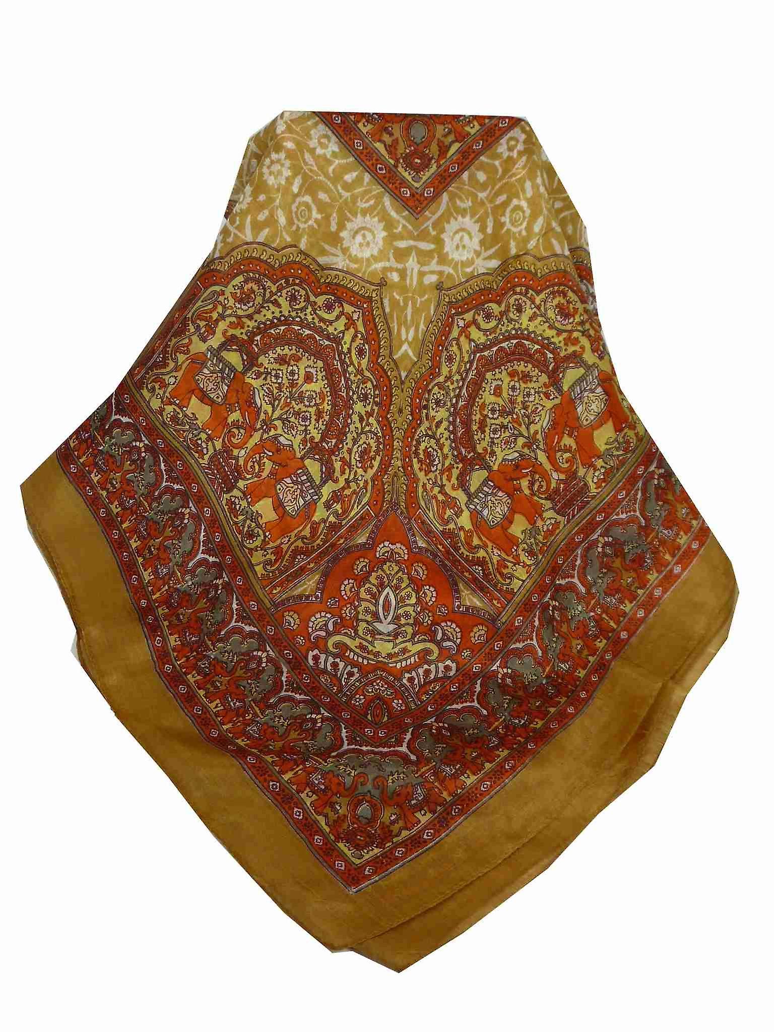Mulberry Silk Traditional Square Scarf Ravali Caramel & Terracotta by Pashmina & Silk