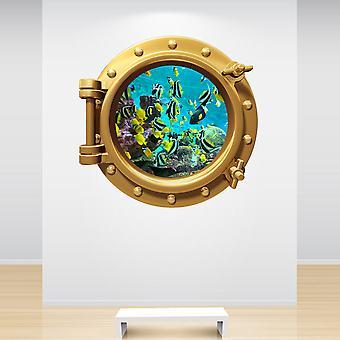 Full Colour Aquarium Fish Tank Brass gouden Patrijspoort muur Sticker