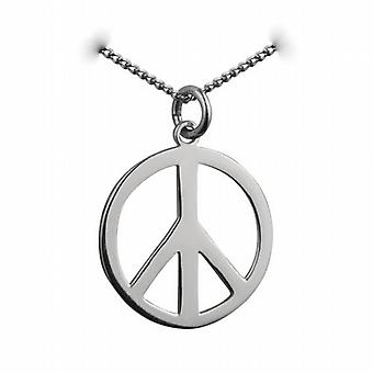 Silver 23mm round plain Ban the Bomb Pendant with a curb Chain 24 inches