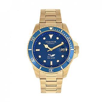 Heritor automaattinen Lucius ranne koru Watch w/Date-kulta/sininen