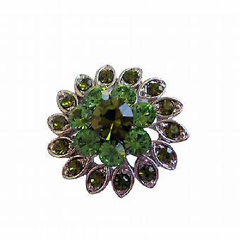 銀花ペリドット ・ カンラン石ラインス トーン ブローチ ピンを鋳造