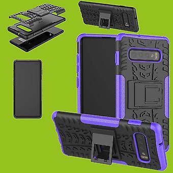 For Samsung Galaxy Galaxy S10 G973F 6.1 tommer hybrid sag 2 stykke SWL udendørs lilla taske tilfælde dække beskyttelse