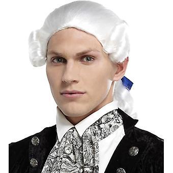 Ponytail Bow White Wig For Men