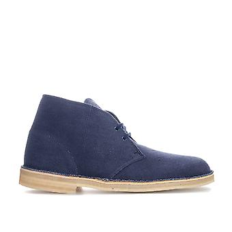 Clarks Originals Fabric Desert Boots In Navy- Lace Fastening- Crepe Sole Unit-