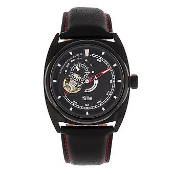 Reign Astro Semi-Skeleton Leather-Band Watch - Black