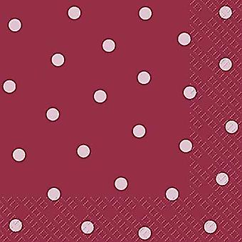Stewo 3 ply paper napkins, Burgundy with Pink Spot Design