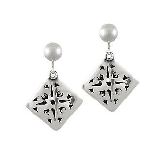 Eternal Collection Etched Sterling Silver Drop Clip On Earrings