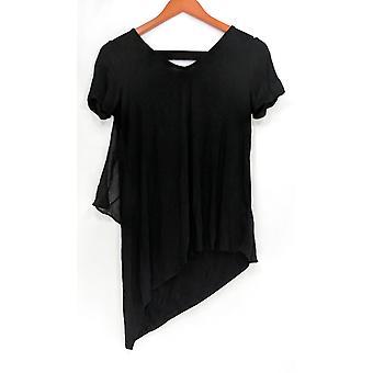 Lisa Rinna coleção mulheres ' s Top V-Neck w/chiffon voltar preto A303168
