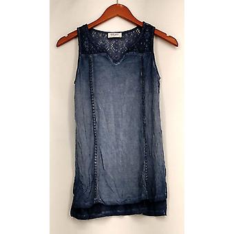 OSO Casuals Top Pigment Dyed Crochet Lace Back Yoke Pom Tank Blue A433806