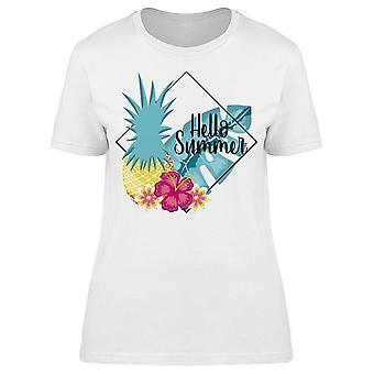 Hello Summer  Pineapple Flowers Tee Women's -Image by Shutterstock