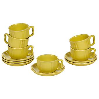 Wellindal Set of 6 cups Kitchen Collection's blue faience Deco