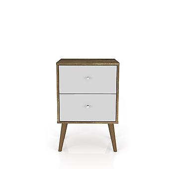 Manhattan comfort  liberty mid century - modern nightstand 2.0 with 2 full extension drawers in rustic brown and white