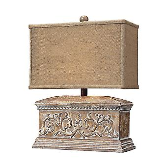 Distressed wood-tone accent lamp with burlap shade