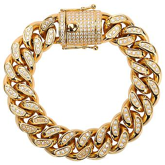Iced Out stainless steel CZ tank chain bracelet - CUBAN 18mm gold