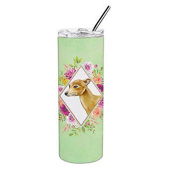 Italienische Windhund grün Blumen Doppel wandbemauert Edelstahl 20 Oz dünne Tumbl