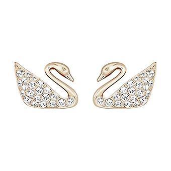 Swarovski Earrings Swan Mini - white - rose gold-plated