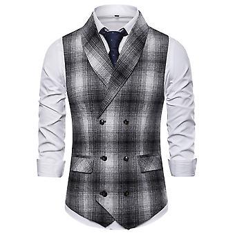 Allthemen mannen ' s geruite sjaal kraag herfst double-breasted casual pak vest