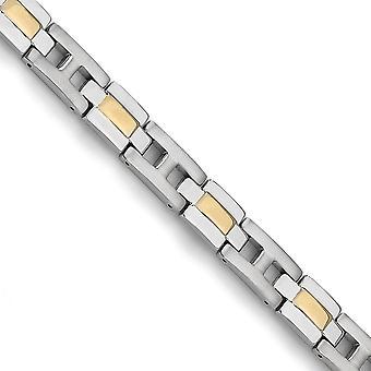 Titanium cepillado pulido fold sobre amarillo IP plateado 24k oro chapado pulsera de 9 pulgadas regalos de joyería para las mujeres