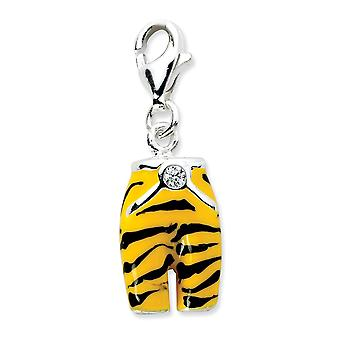 925 Sterling Silver Fancy Lobster Closure Click on CZ Cubic Zirconia Simulated Diamond Enamel Tiger Pants Charm Pendant