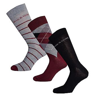 Mens Duck And Cover Styer 3 Pack Socks In Charcoal- One Pair Striped, One Pair