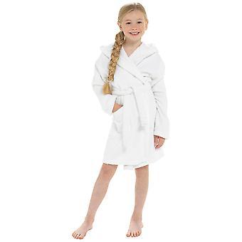 الفتيات مقنعين تصميم لينة 100٪ القطن خلع الملابس ثوب Bathrobe 9-10 Yrs الأبيض