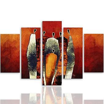 Cinco partes de imagen en lienzo, Pentaptych, tipo A, composición figurativa