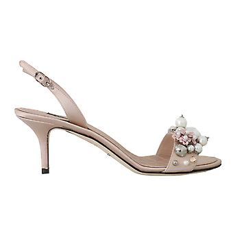 Beige Satin Lace Crystal Pearl Sandals