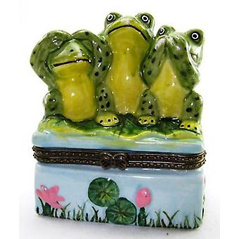 See No Evil Frog Hear No Say No Trinket Box