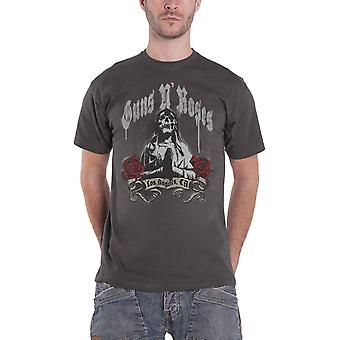 Guns N Roses T Shirt Death Reaper Band Logo Officiel Mens Charcoal Grey