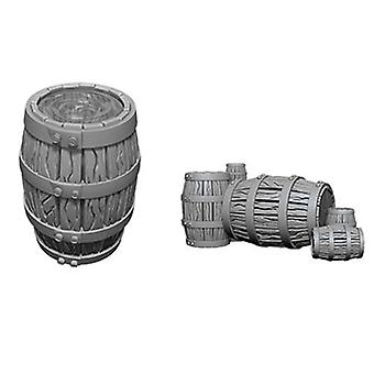WizKids Deep Cuts Unpainted Miniatures Barrel & Pile of Barrels (Pack of 6)
