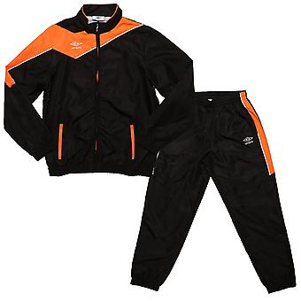 Junior Boys Umbro Division Lined Tracksuit In Black Orange- Jacket:- Zip