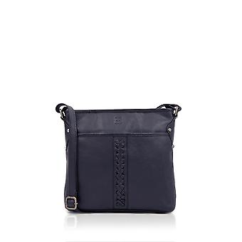 Plaited Leather Cross Body Bag in Navy