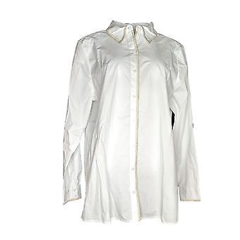 Martha Stewart Women's Top Stretch Poplin Blouse White A353234