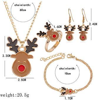 4pc novelty christmas necklace, bracelet, ring and earrings set