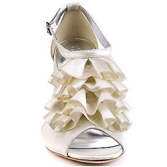 נשים בורן ' s שנהב diamante מצופה בעקב סאטן T-Bar סבין הנעליים כלה