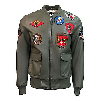 Top Gun Vegan Leather Bomber Jacket Olive