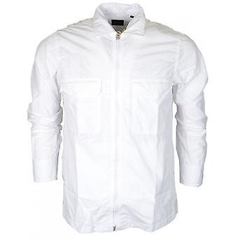 Hugo Boss Lovel Zip Slim Fit de manga larga blanco camisa