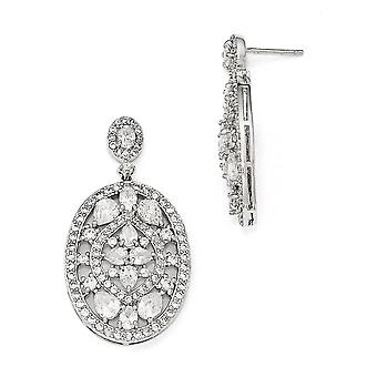 21mm Cheryl M 925 Sterling Silver CZ Cubic Zirconia Simulerad Diamond Fancy Post Long Drop Dingla Örhängen Smycken Gåvor