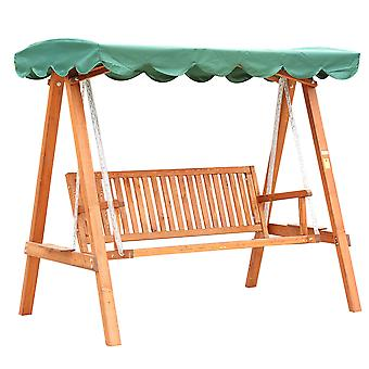 Outsunny 3 Seater Wooden Wood Garden Swing Chair Seat Hammock Bench Furniture Lounger Bed Wooden New (Green)