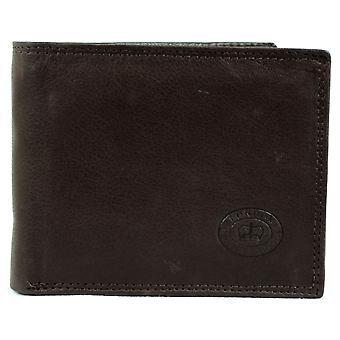 Men's Matt Finish Nappa Leather Bi-Fold Wallet with 9 Credit Card Slots and Multiple Pockets  - Black