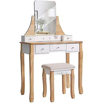 Dressing table with mirror and stool - black or natural/white