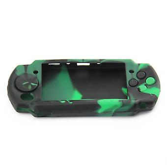 Protective cover for psp 3000 sony console silicone skin rubber case - green & black camo | zedlabz