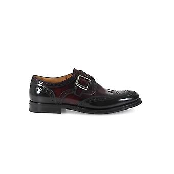 CHURCH'S PATTIE MONK STRAP BLACK/LIGHT BURGUNDY LACE UP