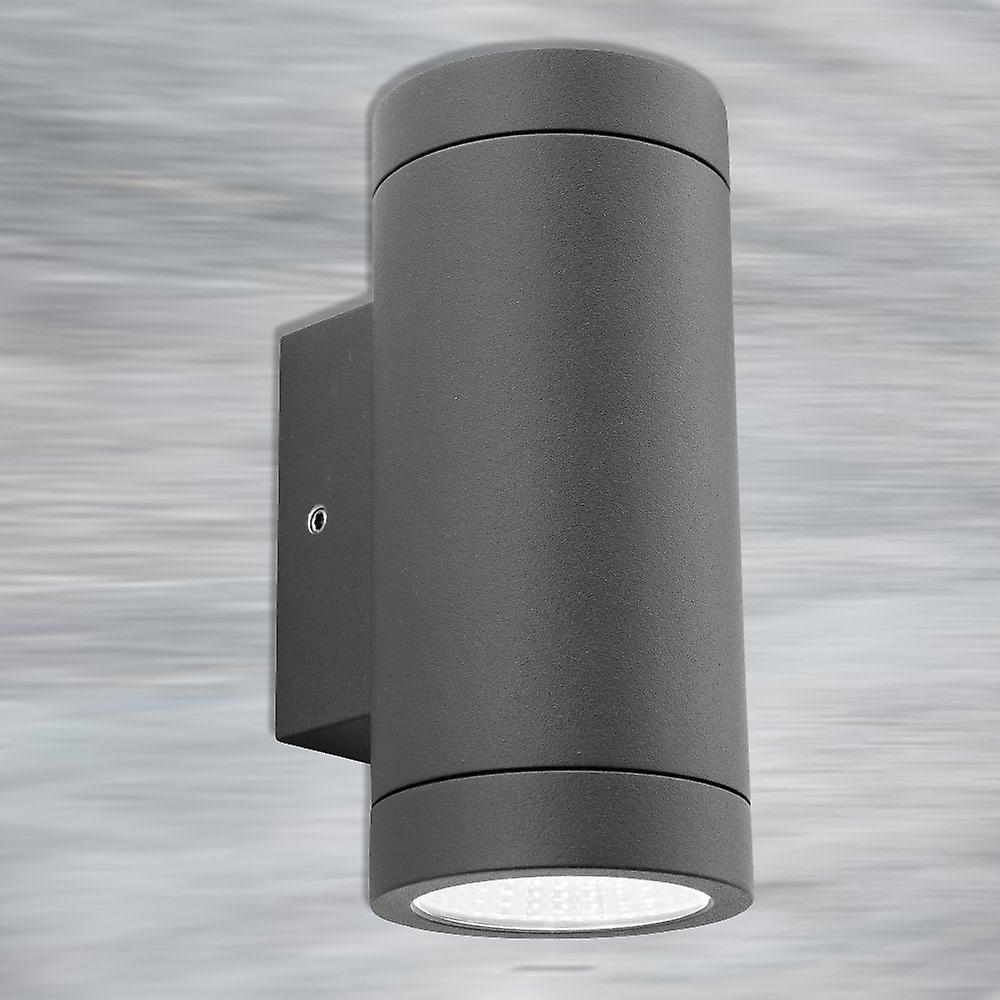 Firstlight Tubular Modern Graphite LED Up Down Outdoor Wall Downlight