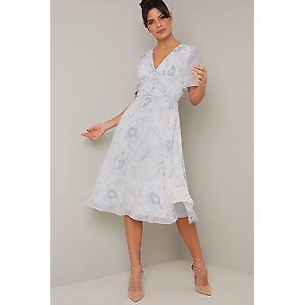 Floral Print Angel Sleeve Dress